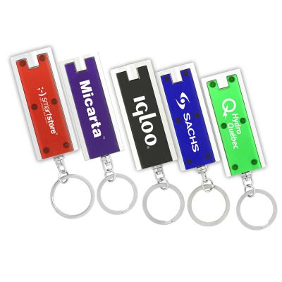 K133 Turbo Rectangular LED Promotional Torch Key Tags With White Light