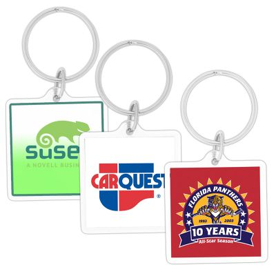 K220 Clear Square Acrylic Personalised Plastic Key Tags