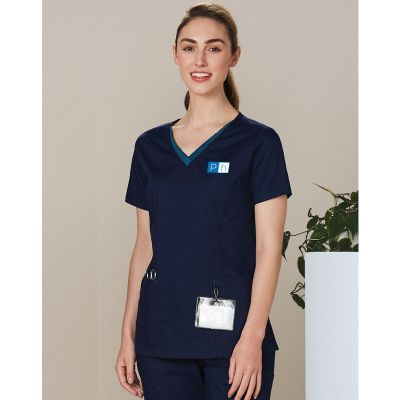 M7660 Ladies Contrast CoolDry Scrubs Tops With Stretch