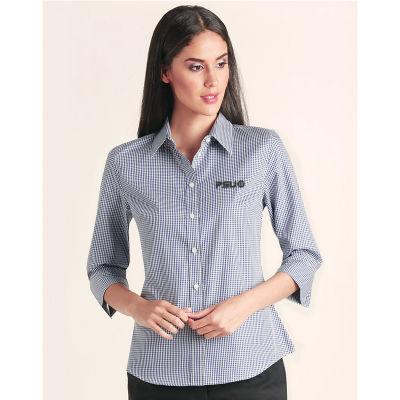 M8320Q Ladies Two Tone Gingham 3/4 Embroidered Button-Up Shirts