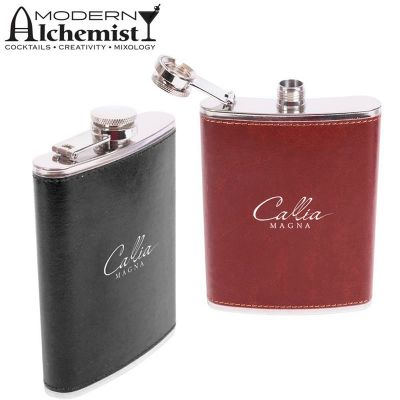 S-201 Inverness Personalised Hip Flasks With Wrapped Faux Leather - 235ml