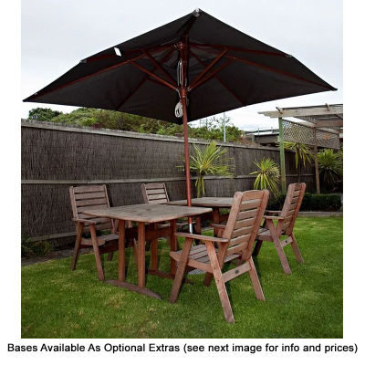S11DHCAC Herculean 3.5m Wooden Logo Cafe Umbrellas With Acrylic Canvas Square Canopy