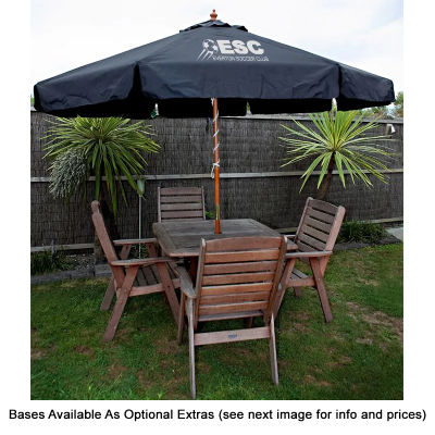 S11KAC Kaprice FSC 3.5m Wooden Custom Market Umbrellas With Acrylic Canvas Round Canopy