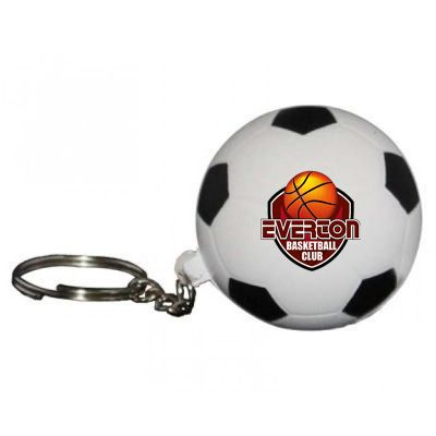 S33 Soccer Ball Keyring Black & White Printed Sports Stress Shapes