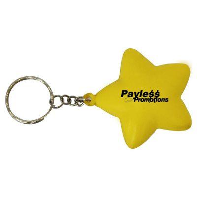 S36 Star Yellow Personalised Keyring Stress Shapes