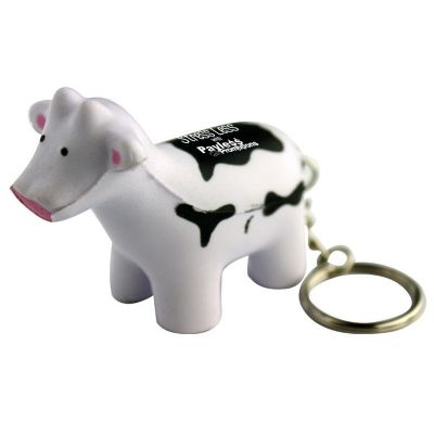 S87 Cow Keyring Printed Animal Stress Balls