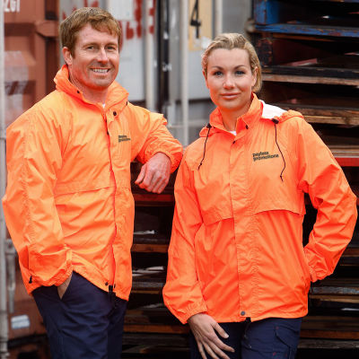 SW27 Spray Branded High Vis Jackets With Concealed Hood