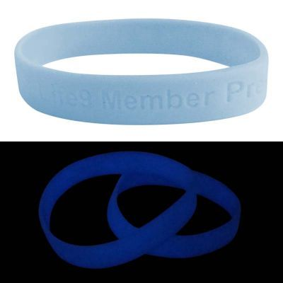 SWBGIDSD Glow In The Dark Debossed or Embossed Team Silicon Wristbands (Purple, Blue or Pink)
