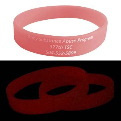 SWBGIDSP Glow In The Dark Promotional Silicon Wristbands (Purple, Blue or Pink) With Print