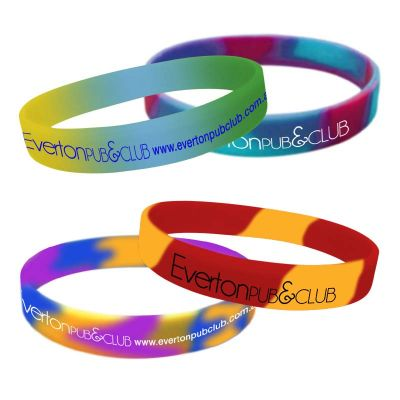 SWBSCP Segmented OR Swirled Colours (Max 5 Colours) Personalised Silicone Wristbands With Print