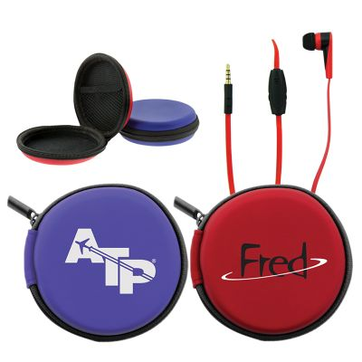 T411 Tangle Free Imprinted Earphones With Zippered Pouch