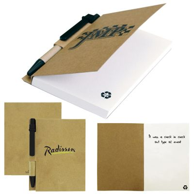 T936 Recycled Paper Cover Personalised Enviro Notepads With Eco Pen