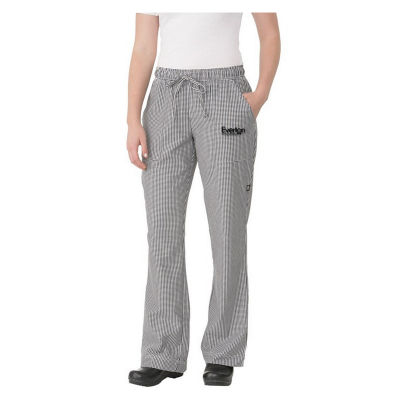 WBAW Small Check Ladies Logo Chefs Pants