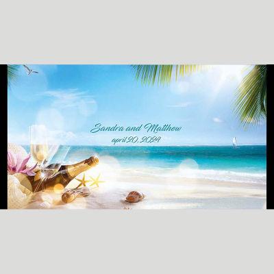 WD101 Wine And Beach Wedding Stubby Holders