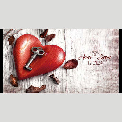 WD108 Heart With A Key Wedding Stubby Holders