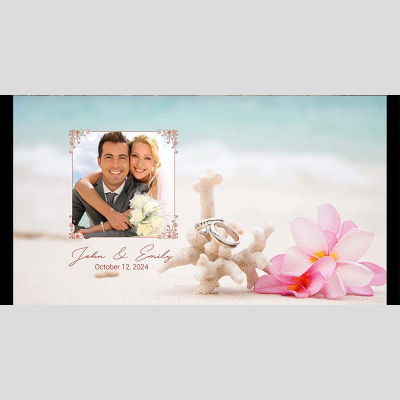 WD12 Beach Photo Frame Wedding Stubby Holders