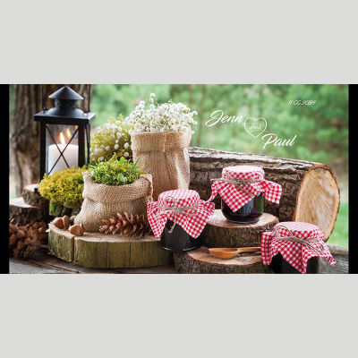 WD130 Vintage Home Theme Wedding Stubby Holders - (4-6 Week Dispatch)