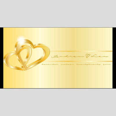 WD141 Golden Heart Wedding Stubby Holders