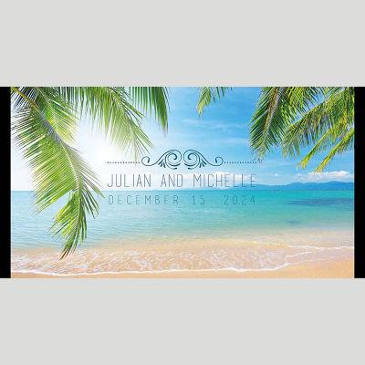 WD154 Beachside Palm Tree Wedding Stubby Holders