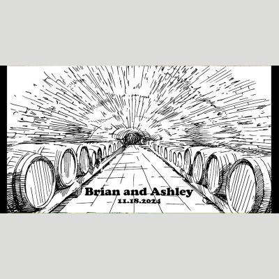WD165 Vineyards Black And White Wedding Stubby Holders - (4-6 Week Dispatch)