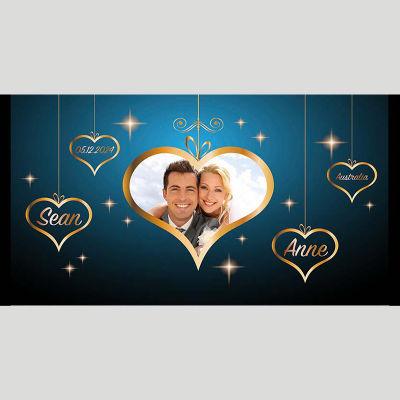 WD220 Golden Photo Frame Wedding Stubby Holders