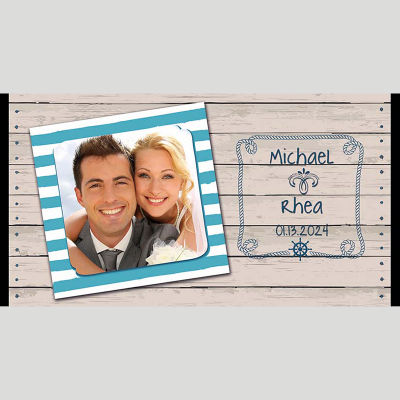 WD233 Beach Photo Frame Wedding Stubby Holders