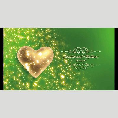 WD66 Golden Heart Wedding Stubby Holders