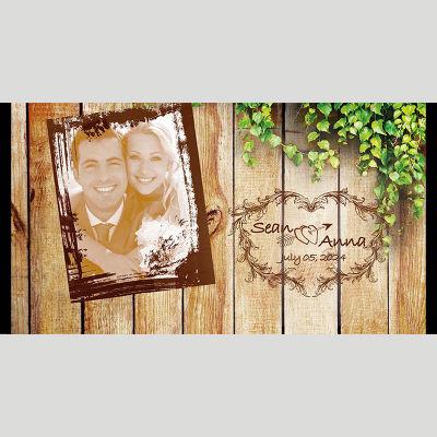 WD87 Wood Wall Photo Wedding Stubby Holders