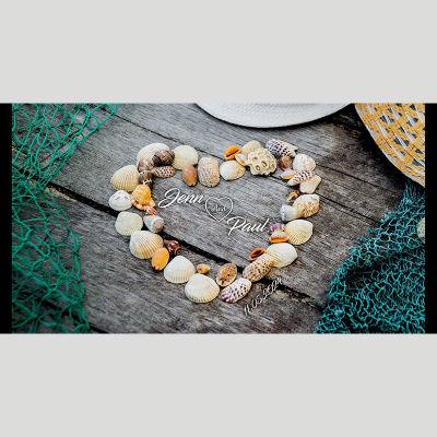 WD95 Shells Heart Wedding Stubby Holders - (4-6 Week Dispatch)