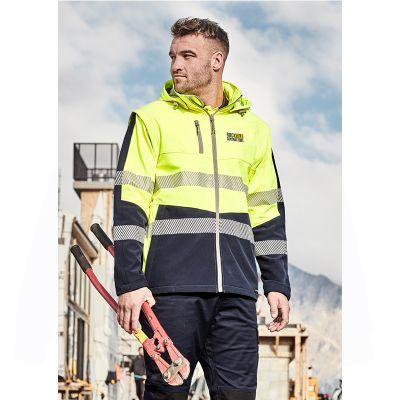 ZJ453 Unisex 2 in 1 Softshell Custom Hi Visibility Jackets & Vest With Reflective Tape