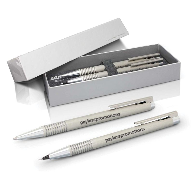 113797 Lamy Retractable Stainless Steel Set Of Promo Pens And Pencil