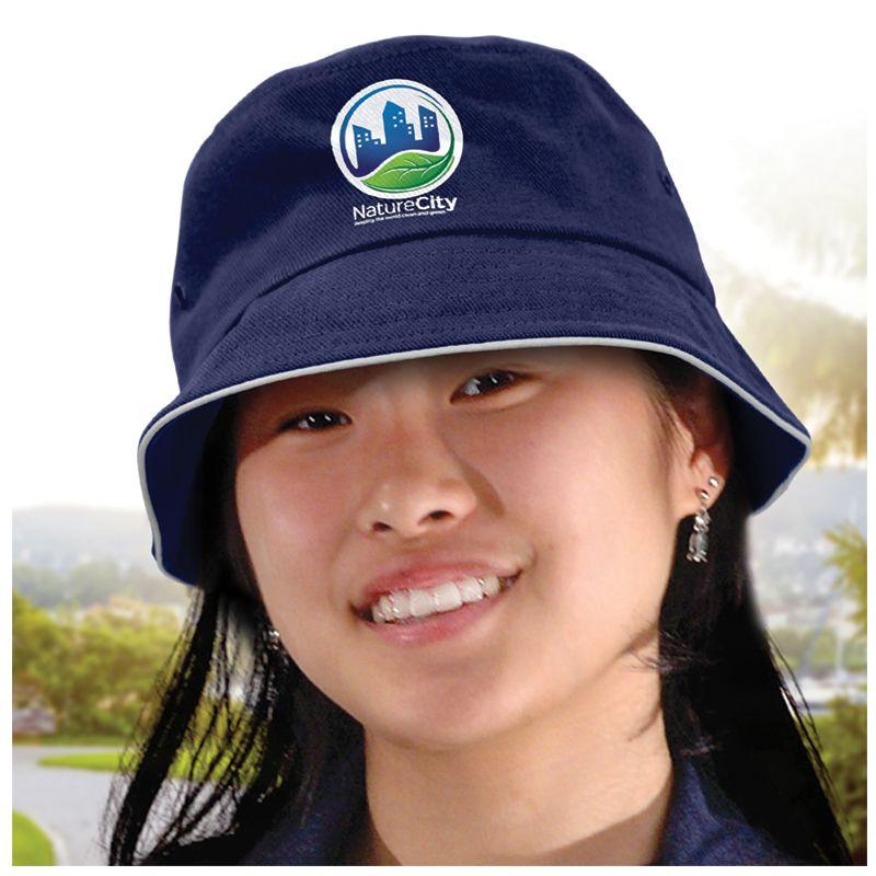 115740 Bondi White Sandwich Trim Customised Bucket Hats