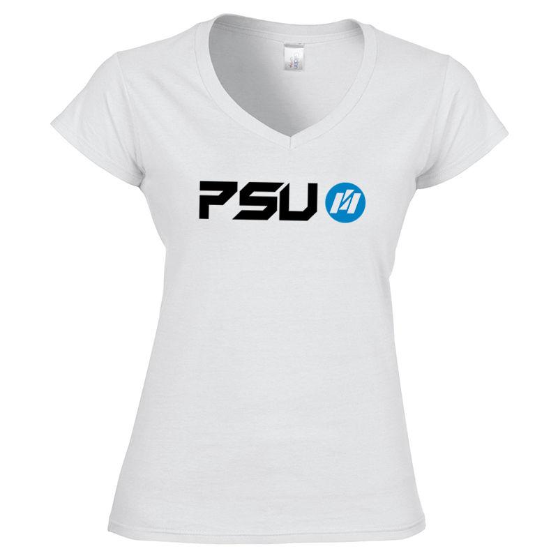 64V00L-WT Ladies Softstyle V-Neck Custom T Shirts - White Only