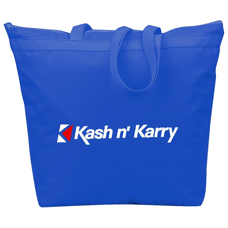 B363 Recycled Branded Shopping Bags With Zippered Pocket - (45cm x 42cm)