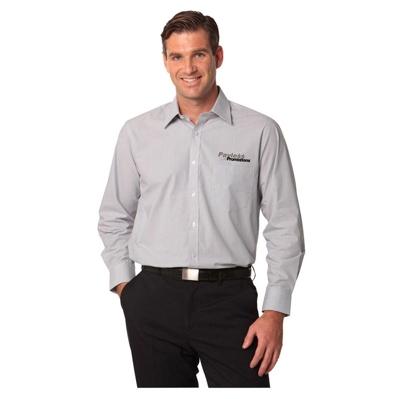 M7212 Fine Stripe Embroidered Button-Up Shirts - Benchmark Range