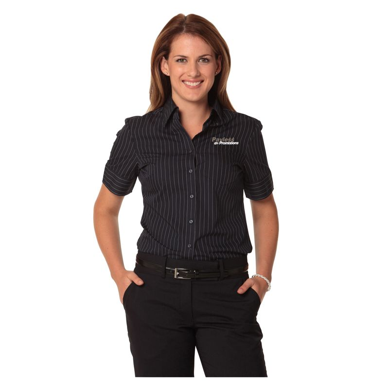 M8224 Ladies Deluxe Pin Stripe Embroidered Button-Up Shirts - Benchmark Range