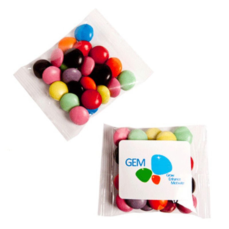 CC017A2 Smarties Look-Alike (Mixed Colours) Filled Branded Lolly Bags With Sticker - 25g