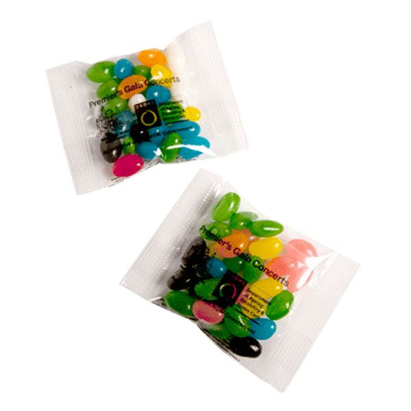 CC033A3 Jelly Bean (Mixed Or Corporate Colours) Filled Branded Lolly Bags - 25g