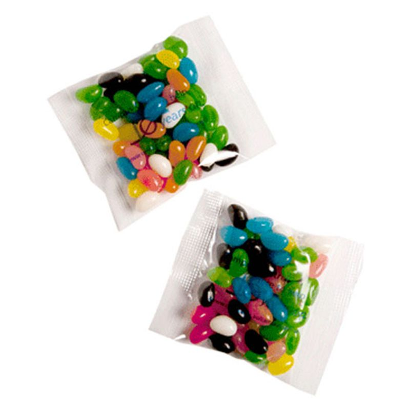 CC033C3 Jelly Bean (Mixed Or Corporate Colours) Filled Promo Lolly Bags - 50g