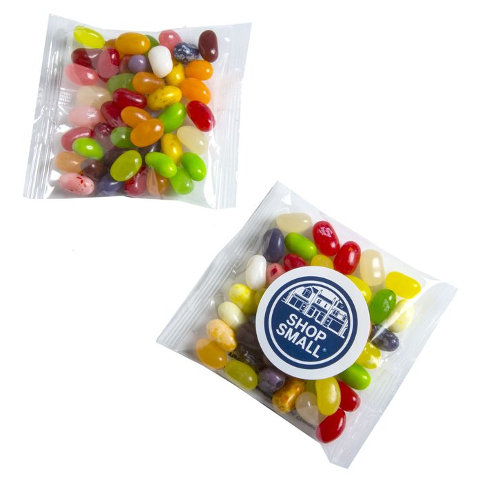CC075B2 Jelly Belly Bean (Mixed Colours) Filled Promo Lolly Bags - 50g