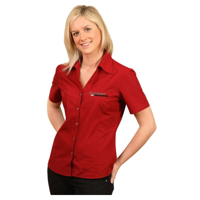 BS07S Ladies Teflon 'Easy-Care' Embroidered Button-Up Shirts With Stretch