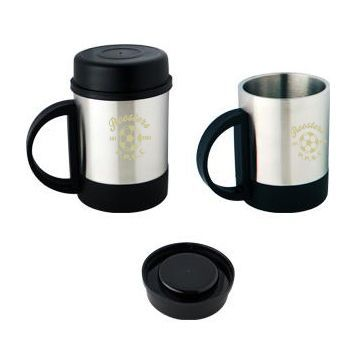 M19II Double Wall Custom Stainless Coffee Mugs With Plastic Handle and Lid