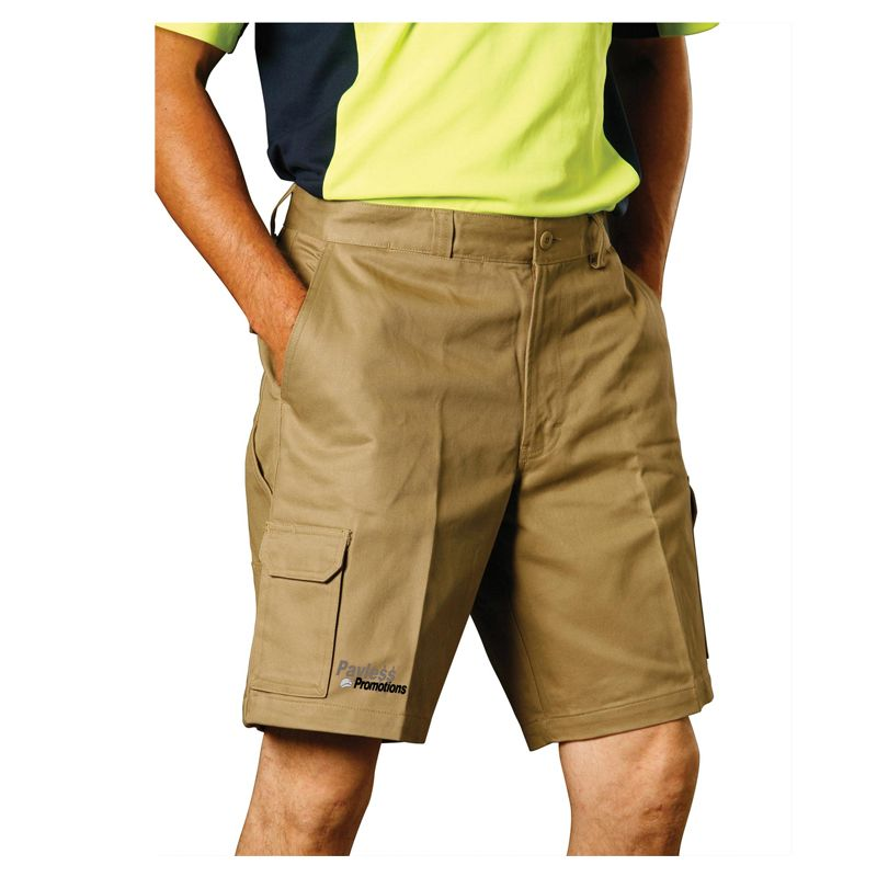 WP06 Cotton Drill Cargo Logo Work Wear Shorts