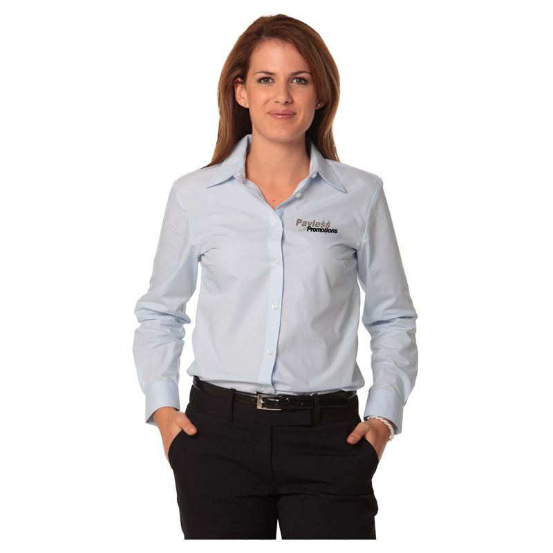 M8212 Ladies Fine Stripe Embroidered Button-Up Shirts - Benchmark Range