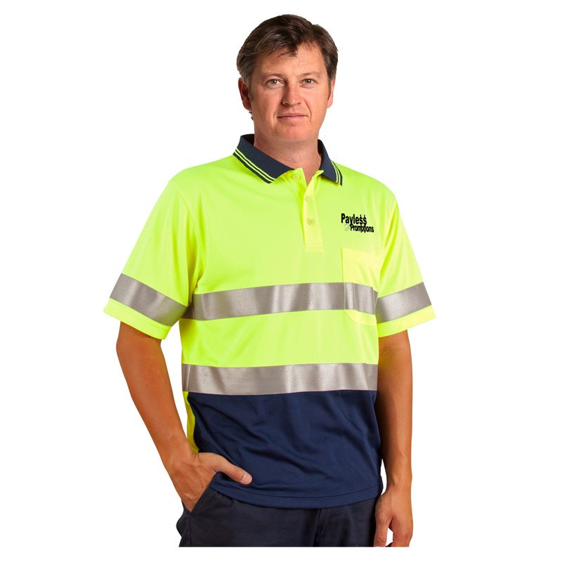 SW17A Day & Night Cool Dry Custom Hi Vis Polos With 3M Reflective Tape