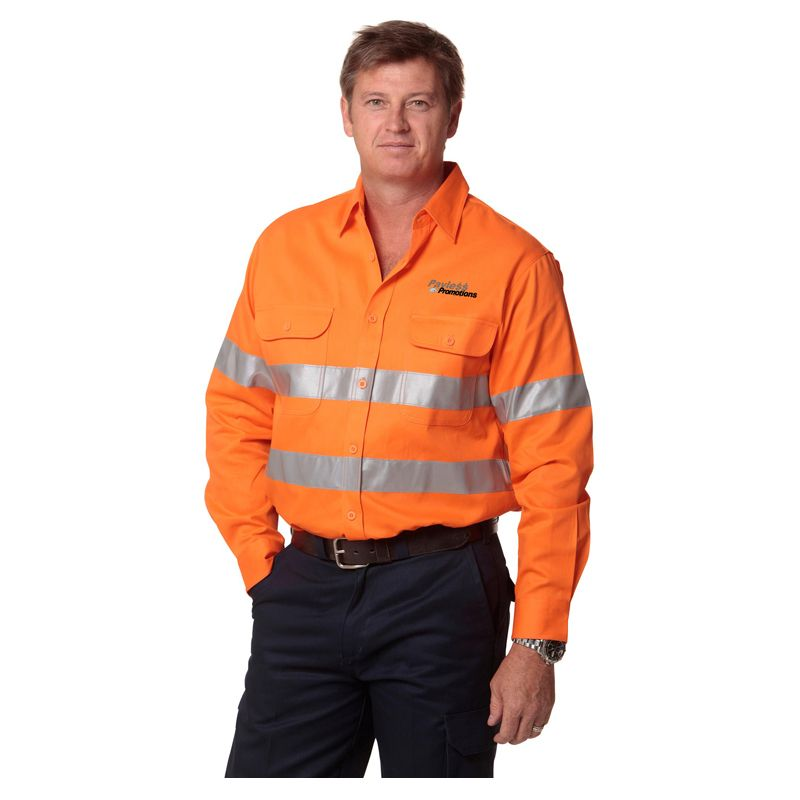 SW52 Cotton Drill Long Sleeve Embroidered Work Shirts With 3M Reflective Tape