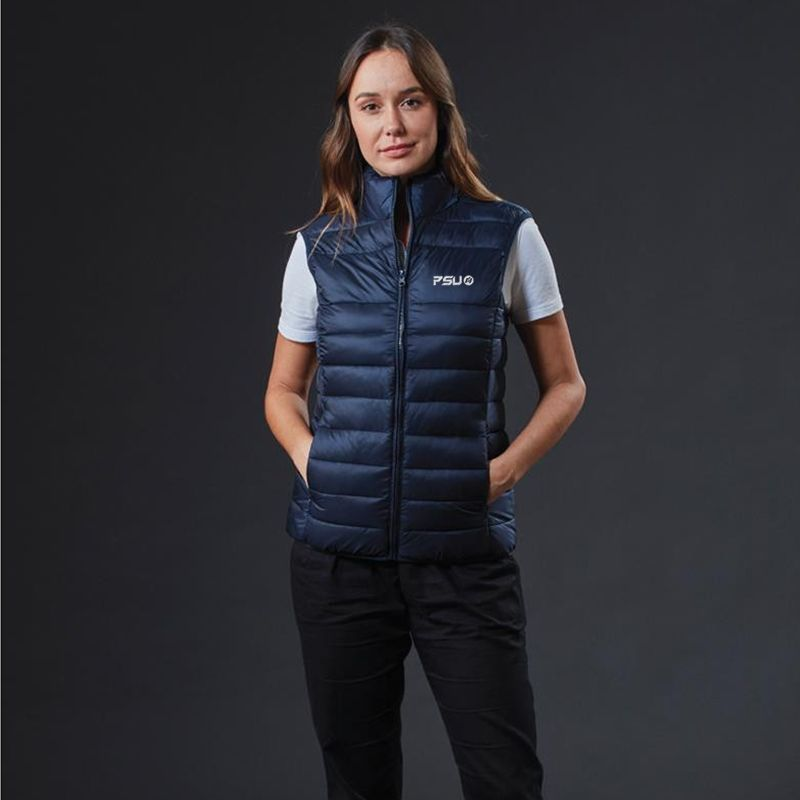 J808W Ladies Lifestyle Puffer Embroidered Fashion Vests