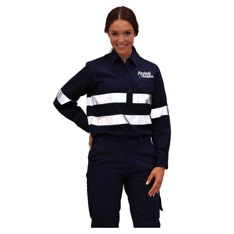 WT08HV Ladies Cotton Drill Long Sleeve Printed Work Shirts With 3M Reflective Tape (XL)