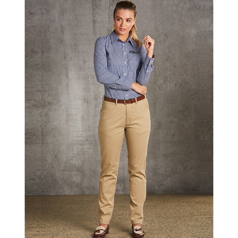 M9460 Ladies Chino Embroidered Dress Pants With Stretch