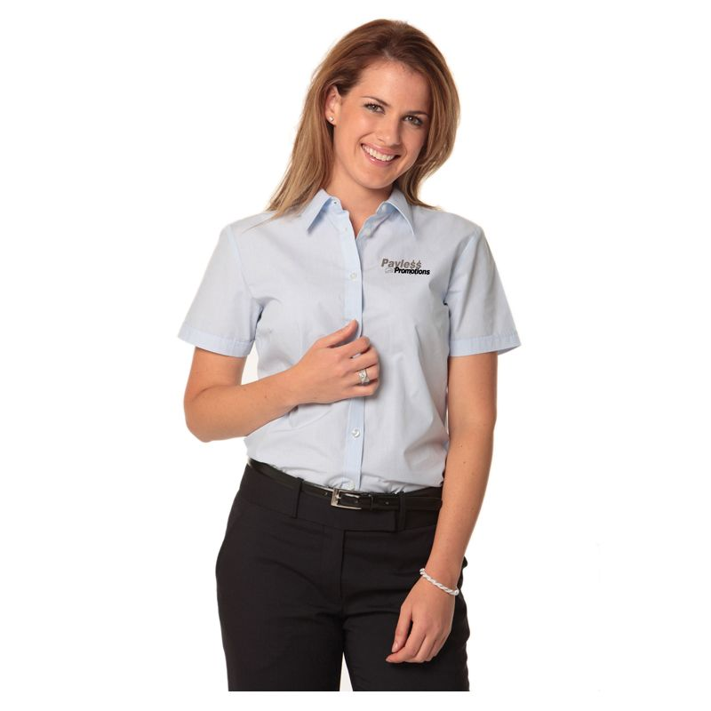 M8211 Ladies Fine Stripe Button-Up Shirts - Benchmark Range